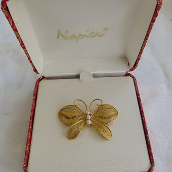 Vintage Napier Butterfly Brooch Pearl Filigree Butterfly Pin Original Box