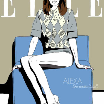 Alexa Chung Elle Magazine Cover - Graphic Illustration A4 - Art Print