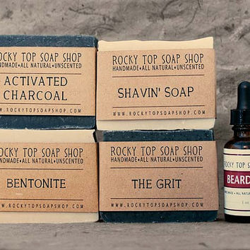 The Bearded Man Set - Natural Soap, Handmade Soap, Unscented Soap, Vegan Soap, Mens Gift Set, Mens Skincare