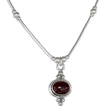 "Sterling Silver 16"" Beaded Liquid Silver Framed Oval Garnet Necklace"