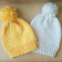 The Basic Beanie, Yellow and White Winter Hats, Yellow Winter Hat, White Winter Hat, Yellow Beanie, White Beanie for Men and Women