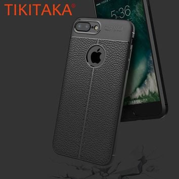 Fashion Litchi Texture PU Leather Case For iphone 8 7 6 6s Plus 5 5s SE Fitted Cases Luxury Soft TPU Shockproof Armor Shell Capa