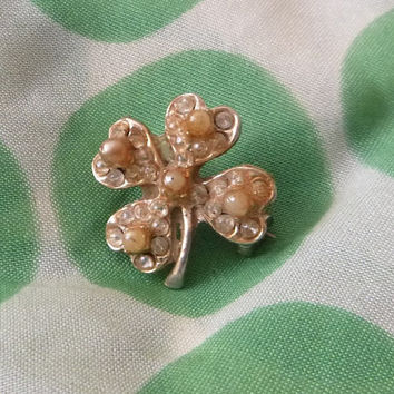50's Vintage 4 Leaf Clover Brooch Shamrock Lapel Pin Scarf Brooch Irish Four Leaf Lucky Clover Seed Pearl Rhinestone Clover Leaf Scatter Pin