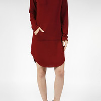 Casual Long Sleeve Drawstring Long Hoodie Tunic Midi Dress