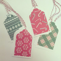 Christmas Gift Tags, Assorted Red and Green Gift Tag, Dozen Gift Tags, Set of 12 Large Gift Tags, Christmas Tags