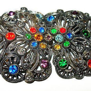 "Little Nemo Belt Buckle Sash Signed LN 25 Rainbow Rhinestones Silver Filigree Metal 3.5"" Vintage"