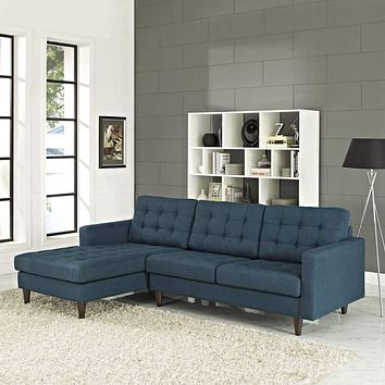 Empress Left-Facing Upholstered Sectional Sofa, Azure