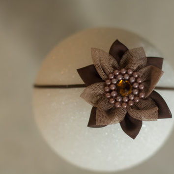 Newborn Headband, Baby Headband, Brown Gray Headband, Newborn Photo Prop, Flower Headband, Unique Headband, Baby Girl Headband, Delicate