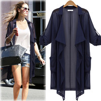 Notch Lapel Chiffon Coat With Pocket