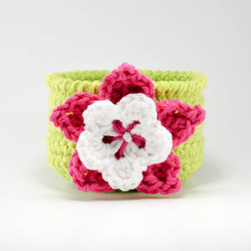 Crochet baskets, woven bowl, tropical home decor, beach house, storage bin, office organizer, catchall, fiber basket, pink and green
