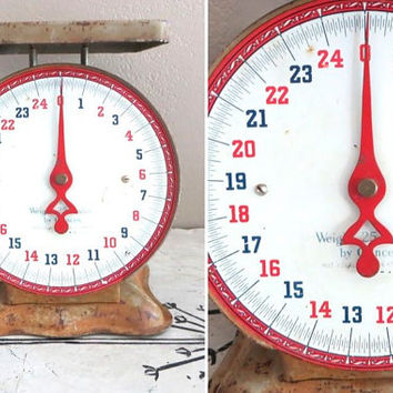 Red and Blue Scale Jersey Scale Kitchen Scale St Louis Vintage Scale Industrial Scale Old Scale Kitchen Decor Rustic Kitchen