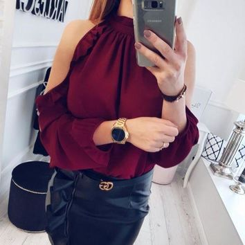 CREYLD1 2018 Spring New Fashion O-Neck Ruffles Long Sleeve elegant tops winered&green button blouse Casual shirts