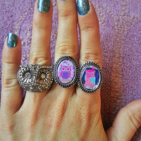 Purple Owl Adjustable Ring for trendy girl