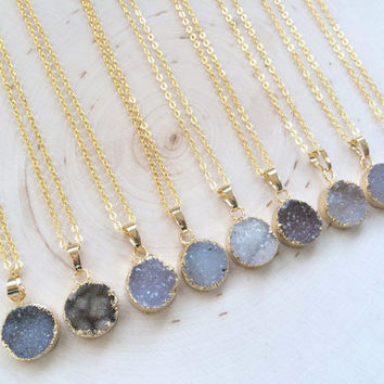 Small Circle Druzy Pendant Necklace, Gold Electroplated Druzy Pendant, Druzy Necklace