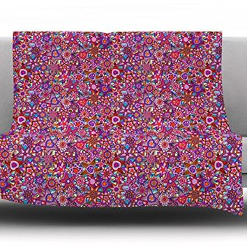 "Kess InHouse Julia Grifol ""My Dreams in Color"" Fleece Throw Blanket, 50 by 60-Inch, Pink Stars"