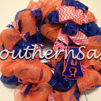 On Sale Auburn Tigers Orange and Blue Deco Mesh Wreath with Chevron Ribbon