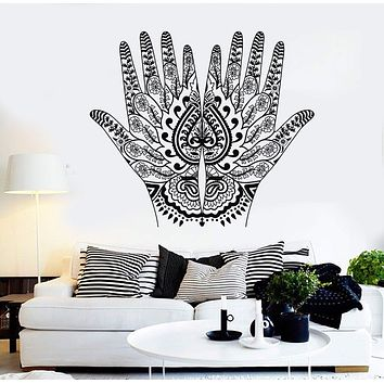Vinyl Wall Decal Mehendi Hand Painting Hindu Sanskrit India Stickers Unique Gift (081ig)
