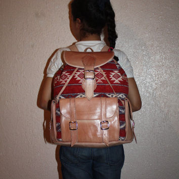 Tribal Backpack Carpet and Leather
