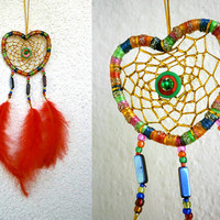 Rainbow Heart Dreamcatcher With Red Feather