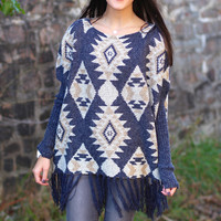 Join the Tribe Fringe Poncho {Denim Blue}
