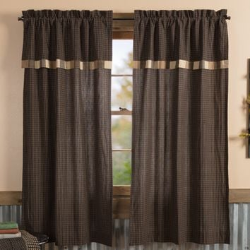 Kettle Grove Plaid Block Border Short Panel Curtains