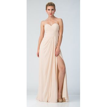 Starbox USA 6425 Strapless Long Bridesmaid Dress with Slit Champagne