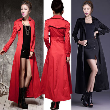 XS-4XL/5XL/6XL7XL/8XL Plus Size England Style Female Trench Turn-down Collar Double Breasted Outwear Woman Long Trench Coat