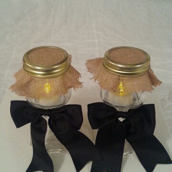 Burlap and black wedding candle jar / center piece set. Any color to match your wedding