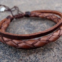 Unisex Leather Zen Bracelet, Adjustable