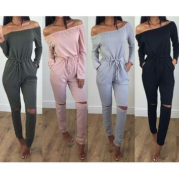 JOYINPARTY 2017 Autumn Women Jumpsuit Cut Out Off Shoulder Fashion Long Sleeve Rip Knee All In One Ladies Casual Jumpsuits