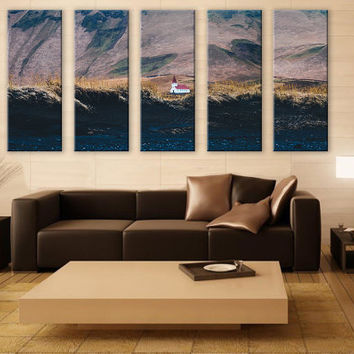 Church on a Mountain Scenery LARGE Canvas 5 Panels Print Art Wall Deco Fine Art Photography Repro Print for Home and Office Wall Decoration
