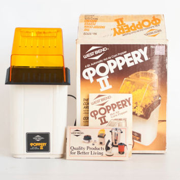 Vintage West Bend Poppery II Hot Air Corn Popper, 1980s Popcorn Machine, Oil Free, Kitchen Gadget with Box, 4 Quarts