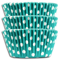 Turquoise Polka Dot Baking Cups