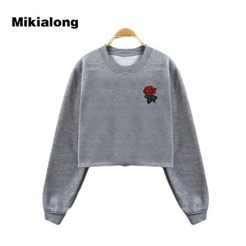 Mikialong 2017 Harajuku Floral Embroidery Cropped Hoodie Women Pullover Thicken Fleece Women Hoodies Sweatshirts Sweat Femme