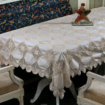Sale 50% Off! Patchwork CROCHET TABLECLOTH- HANDMADE- Home, Wedding, Birthday & Events Decor- Table Runner, Table Cover, Lace Table Cloth