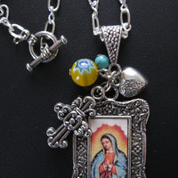 Our Lady of Guadalupe Necklace with Yellow Millefiore Bead