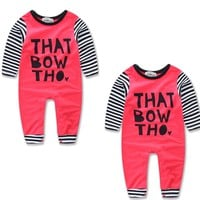 Cotton Newborn Baby Girls Clothes Letter Cotton Long Sleeve Romper Winter Clothing Outwear Outfits Baby Girl