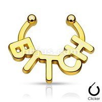 "Non-piercing Fake Septum Hanger with Word ""Bitch"""