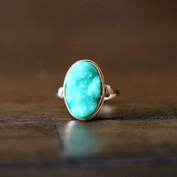 Oval Druzy Ring - Buttermint