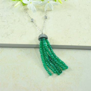Gemstone Tassel Necklace in Sterling Silver Crystal Chain