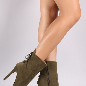Suede Pointy Toe Back Corset Lace-Up Stiletto Booties