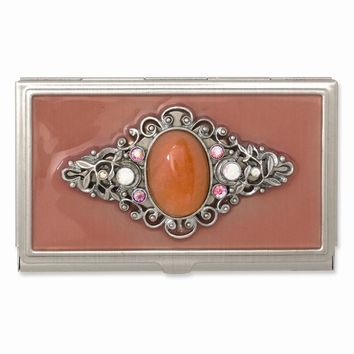 Steel Peach Enameled Strawberry Qtz Business Card Holder - Engravable Gift Item