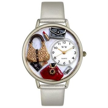 SheilaShrubs.com: Whimsical Unisex Purse Lover Silver Leather and Silvertone Watch U-1010021 by Whimsical Watches: Watches