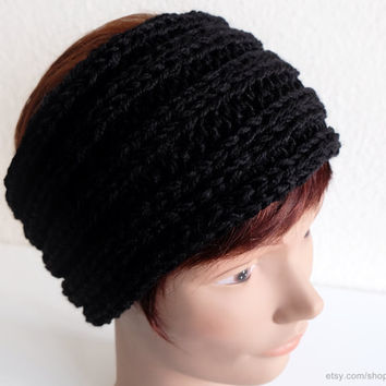Black ribbed headband, very soft wool earwarmer, knit hairband, stretchy head-wrap, textured knit, winter sports, gift women, gift men