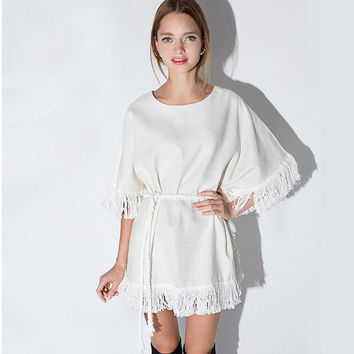 White Fringed Hem Drawstring Waist Kimono Dress