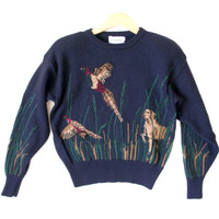 Pheasant Hunting Women's Wool Ugly Sweater - The Ugly Sweater Shop