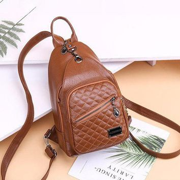Women Soft Faux Leather Multi-function Sling Bag Backpack