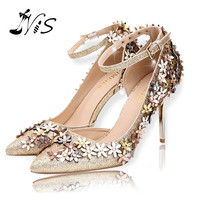 New Hot Pointed Toe Women Pumps Flowers Design 10CM High Heels Ladies Ankle Strap Shoes