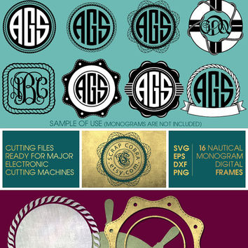 16 Nautical Marine Digital Monogram Frames - Vector Decal Clipart - SVG, eps, DXF, PNG for cards, transfers, cutting machines cv-098
