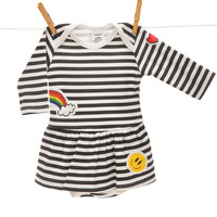 stripe Onesuit dress with patches